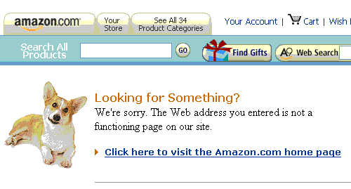 Screen dump of 404 error message of amazon.com.