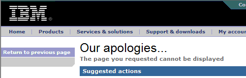 Screen dump of 404 error message of ibm.com.