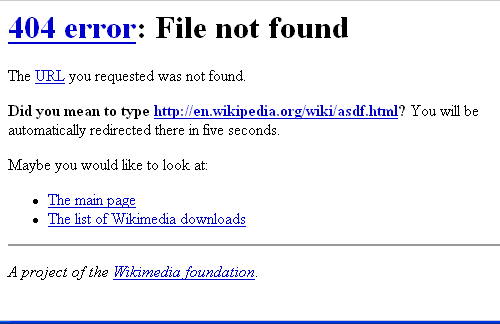 Screen dump of 404 error message of ebay.com.